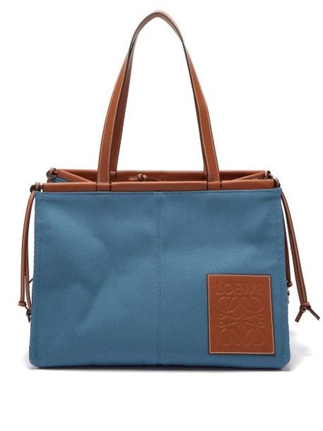 Loewe - Cushion Large Canvas Tote Bag - Womens - Blue Multi