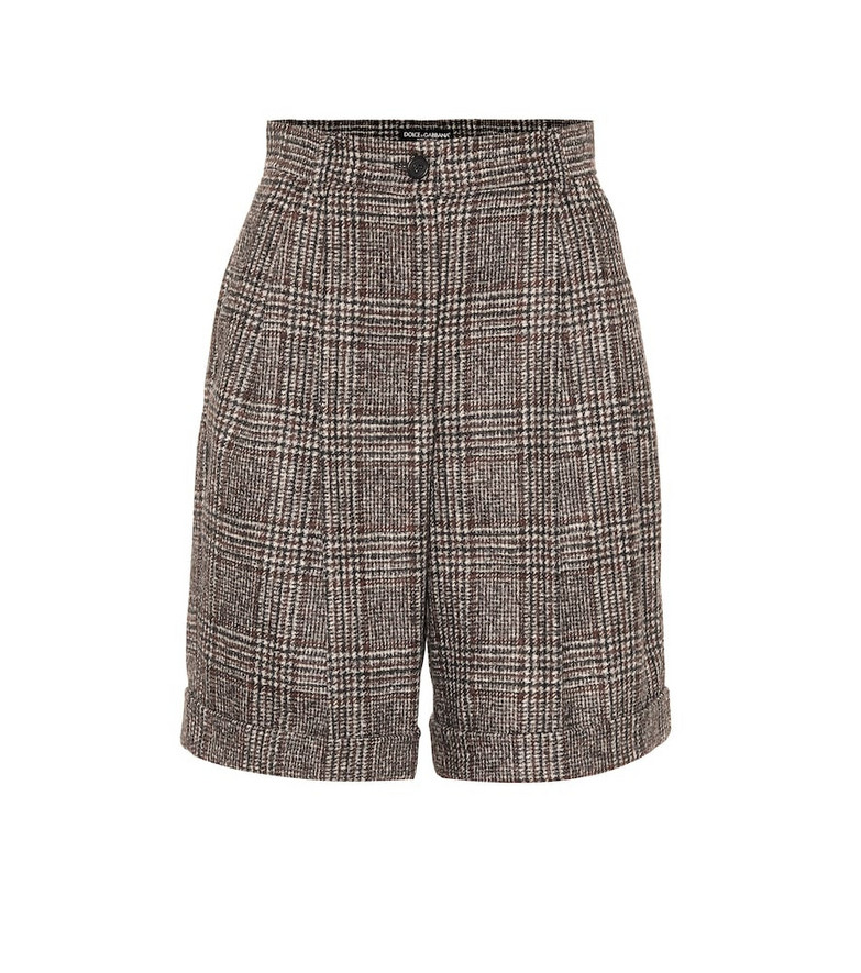 Dolce & Gabbana Checked wool-blend Bermuda shorts in grey