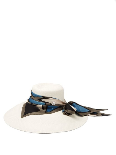 Maison Michel - Big Kate Scarf Trimmed Straw Hat - Womens - White