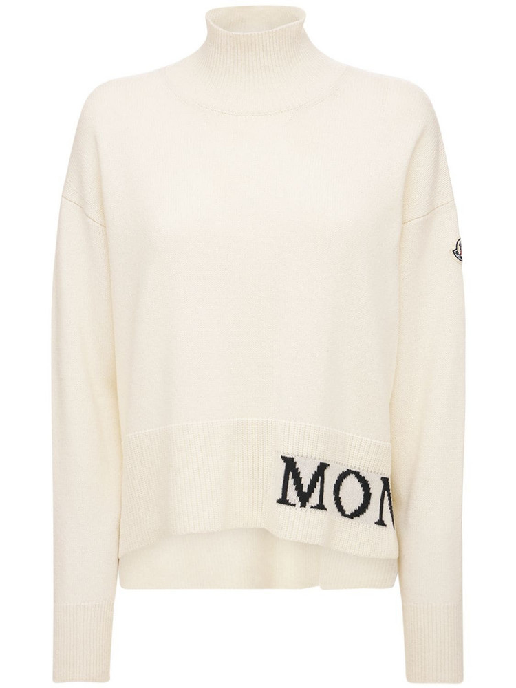 MONCLER Wool & Cashmere Knit Turtleneck Sweater in white