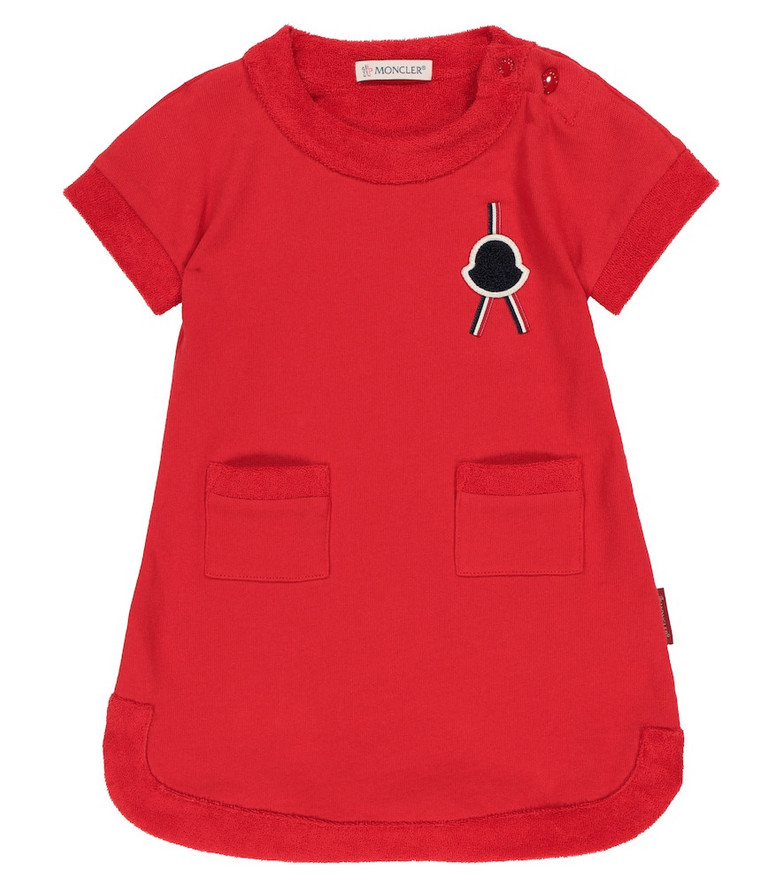 Moncler Enfant Baby cotton fleece dress in red