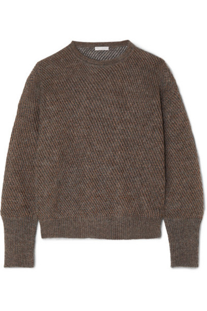 Brunello Cucinelli - Metallic Ribbed-knit Sweater - Charcoal