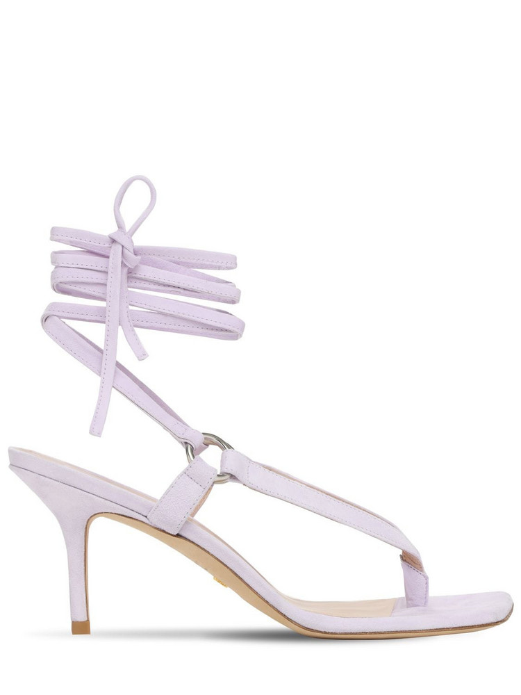 STUART WEITZMAN 75mm Lalita Suede Thong Sandals in lilac
