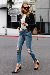 fashionjackson,blogger,jacket,sweater,jeans,shoes,sunglasses,bag,pumps,ripped jeans,high heel pumps,spring outfits