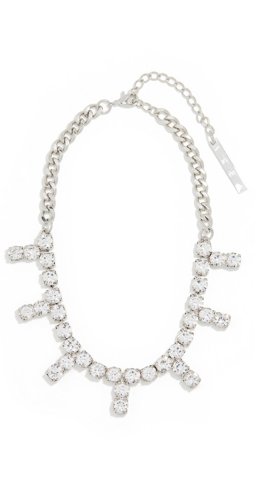 Area Blanket Stitch Crystal Choker in silver / clear