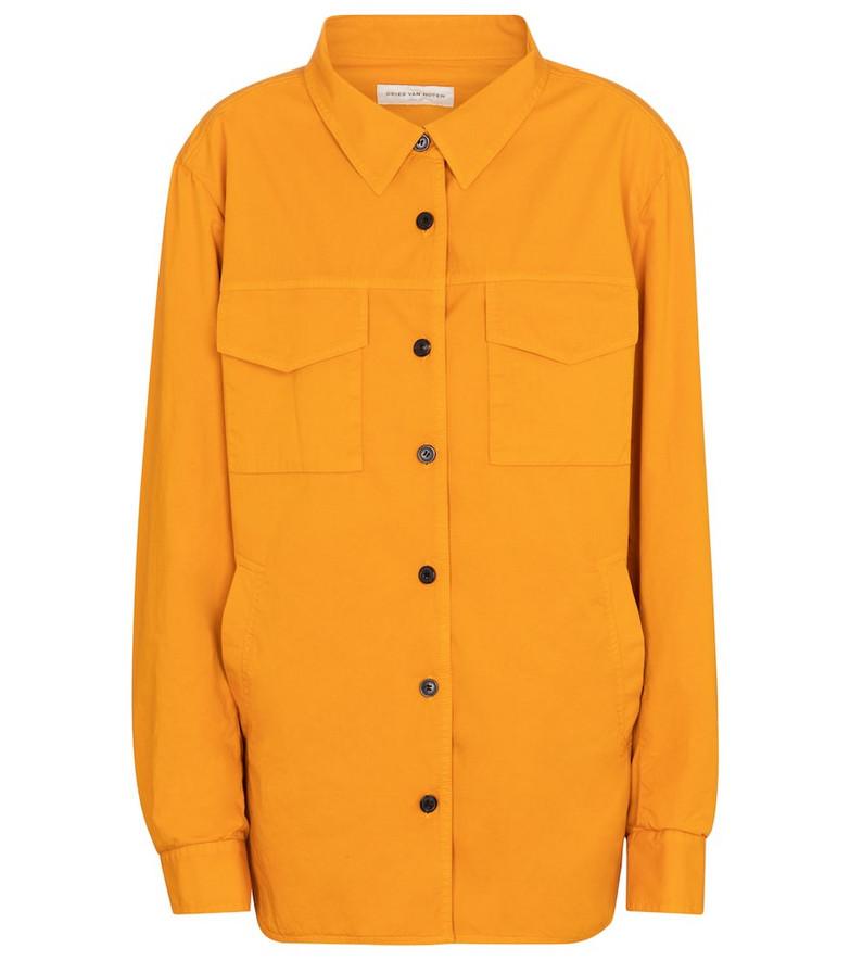 Dries Van Noten Cotton shirt jacket in orange