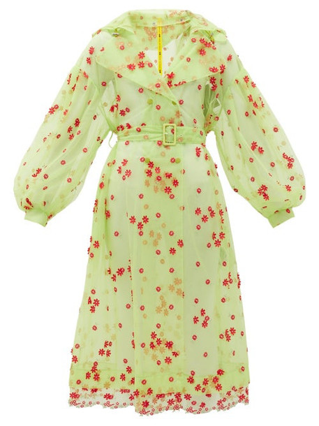 4 Moncler Simone Rocha - Coronilla Daisy-embroidered Tulle Coat - Womens - Green Multi