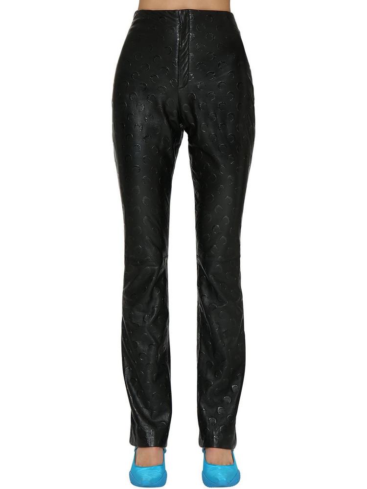 MARINE SERRE Moon Logo Leather Pants in black