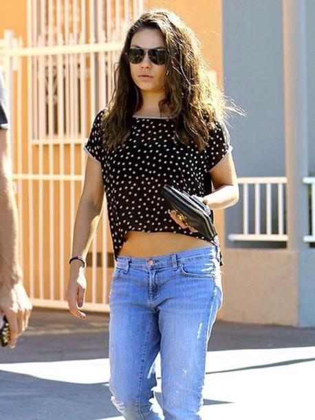 blouse shirt mila kunis polka dots black top skinny jeans
