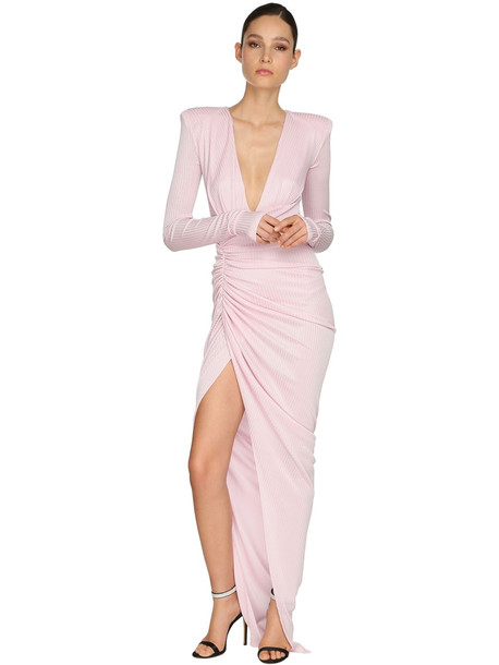 ALEXANDRE VAUTHIER Draped Rib Jersey Lamé Long Dress in pink