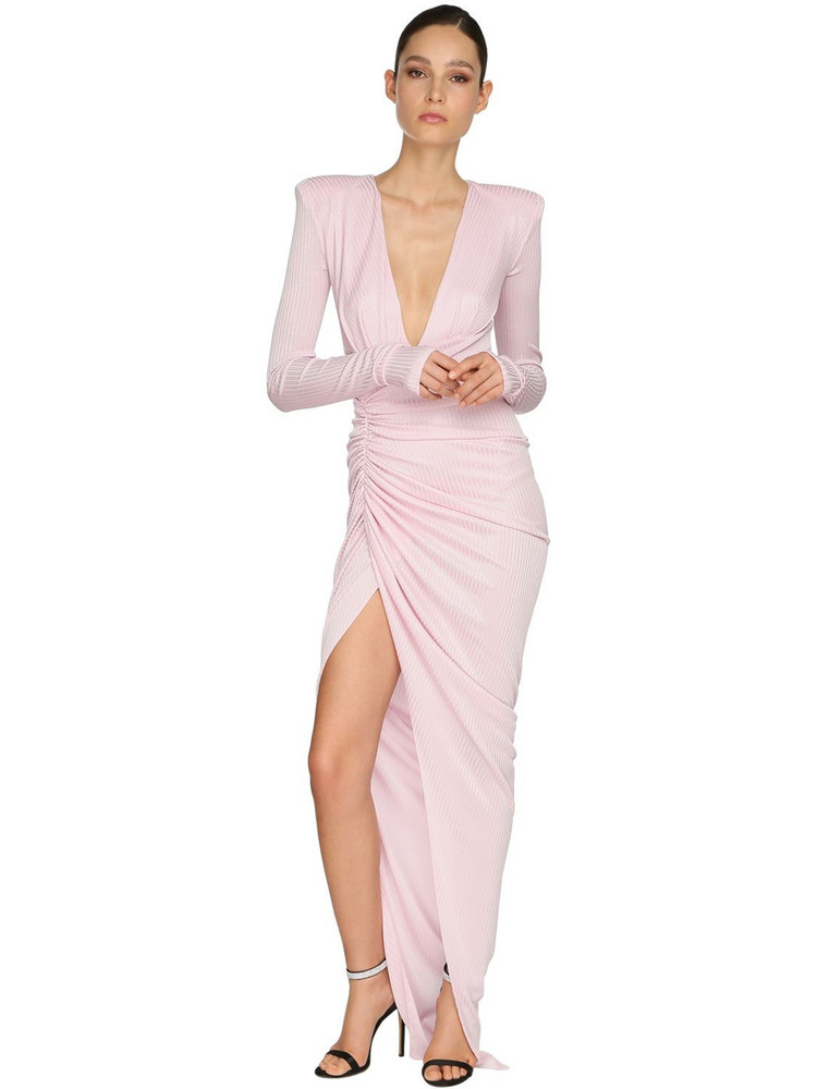 ALEXANDRE VAUTHIER Draped Rib Jersey Lamé Long Dress in pink