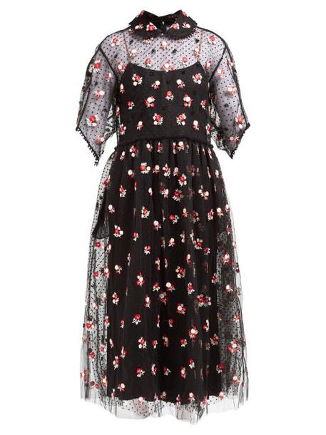 Biyan - Anita Floral Embroidered Tulle Dress - Womens - Black Red