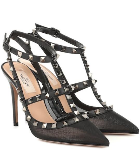 Valentino Garavani Rockstud mesh and leather pumps in black