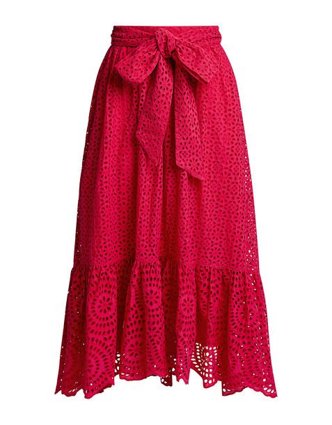 Ulla Johnson Lindley Floral Lace Eyelet Midi Skirt Red