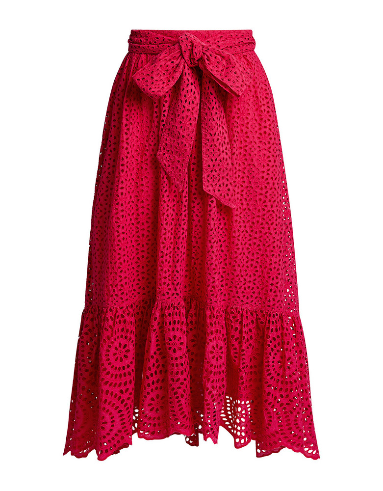 Ulla Johnson Lindley Floral Lace Eyelet Midi Skirt Red