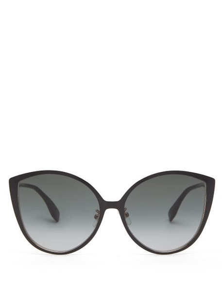 Fendi - Oversized Cat Eye Metal And Optyl Sunglasses - Womens - Grey