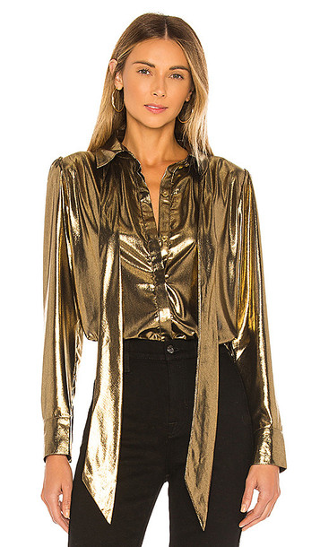 7 For All Mankind Foil Satin Blouse with Neck Tie Top in Metallic Gold