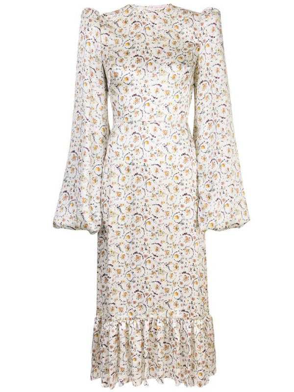 The Vampire's Wife floral print pouf sleeve dress in white