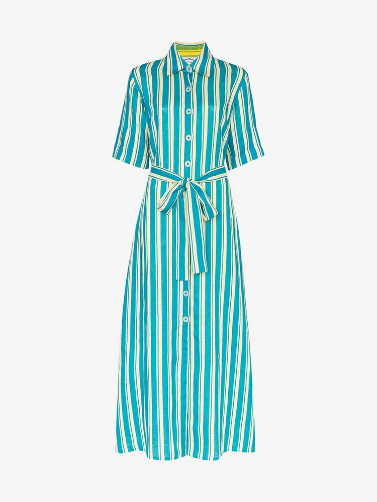 Evi Grintela Sunflower striped linen shirt dress in blue