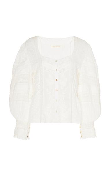 LoveShackFancy Lorette Top Size: XS in white