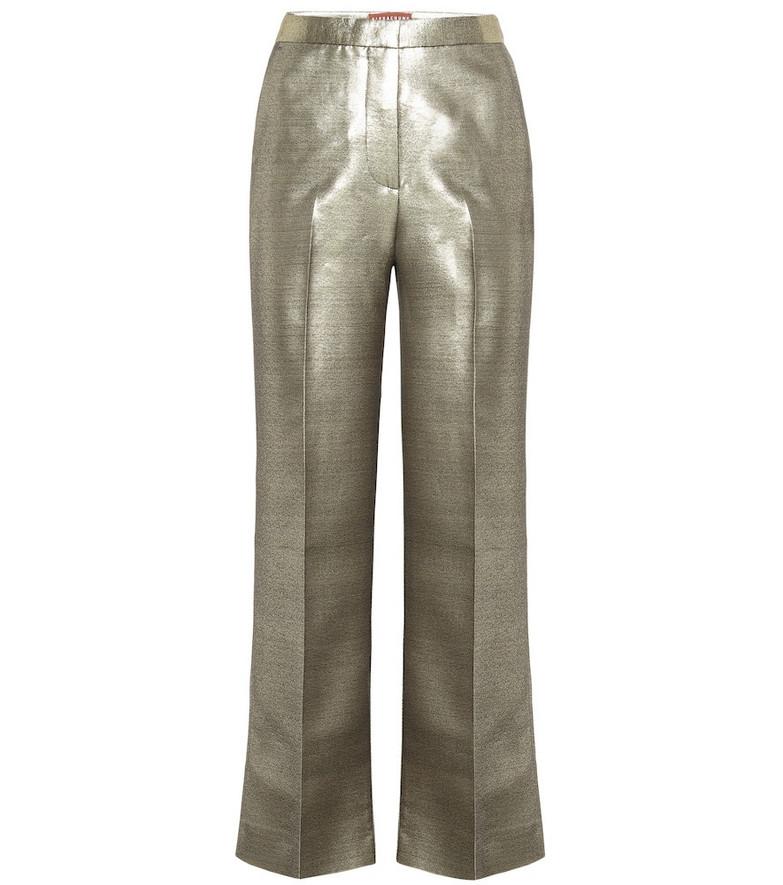 AlexaChung Metallic high-rise straight pants in gold