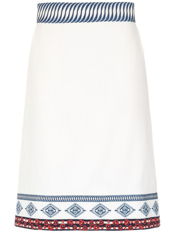 Isolda embroidered Amelie skirt in white