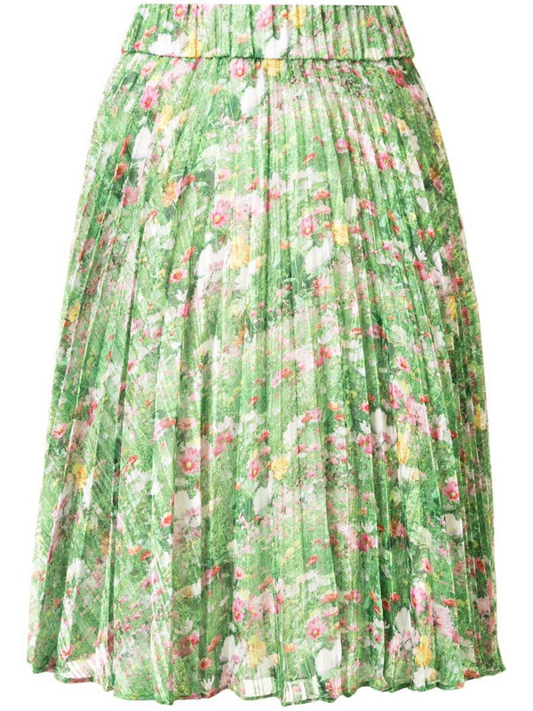 Romance Was Born Lacy Gardens pleated skirt in green