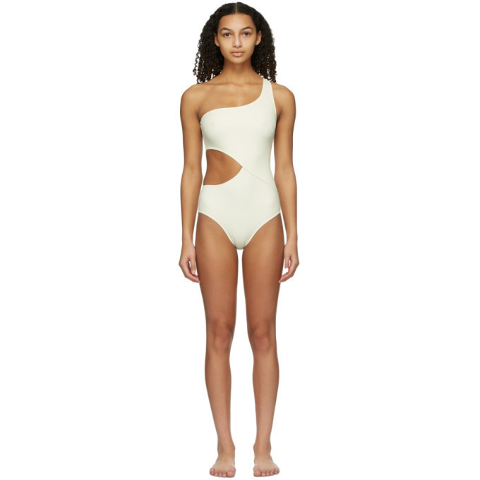Solid and Striped Off-White The Claudia One-Piece Swimsuit in cream