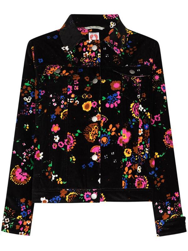 Shrimps Reeve floral print velvet jacket in black