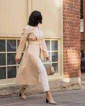 coat,nude coat,pants,white pants,shoes