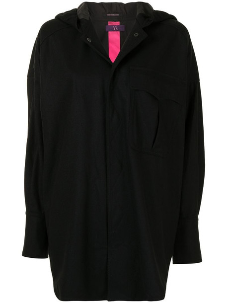 Y's hooded oversized coat in black