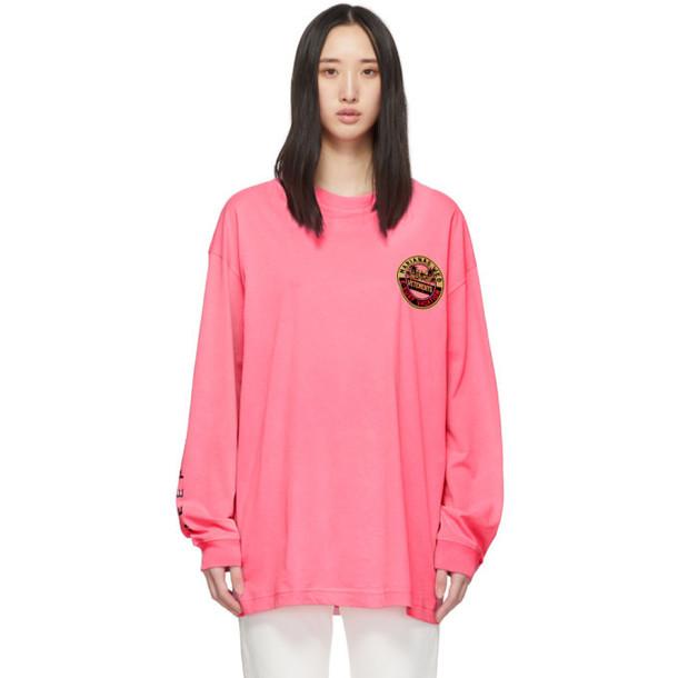 VETEMENTS Pink Surfer Logo Long Sleeve T-Shirt
