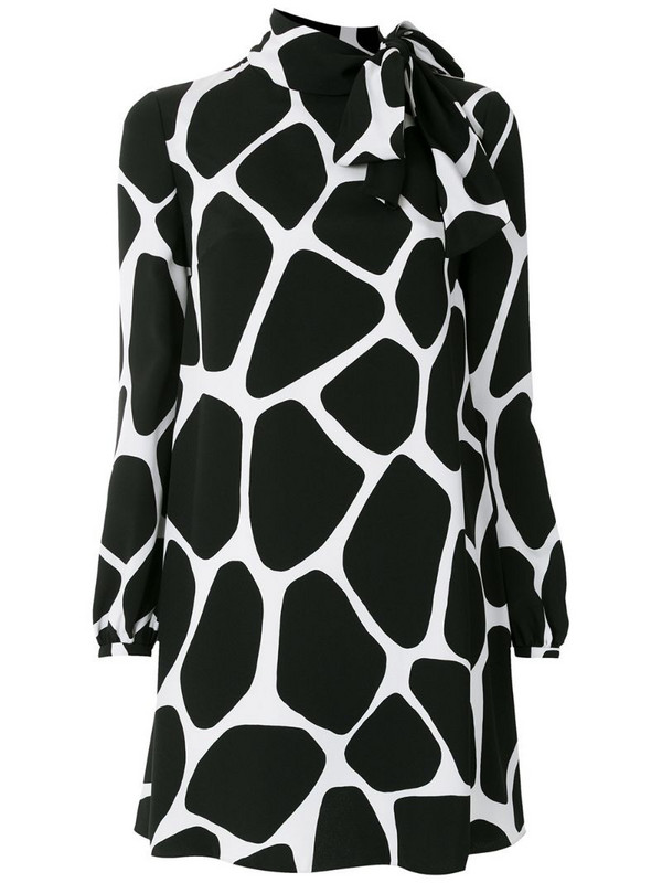 Valentino giraffe print silk mini dress in black
