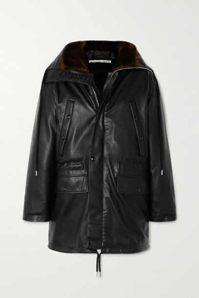 Alexander Wang - Hooded Faux Fur-trimmed Faux Leather Down Jacket - Black