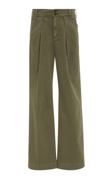 FRAME Wide-Leg Chino Trousers Size: 28 in green