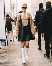 dress,black dress,mini dress,prada,leather dress,knee high boots,white boots,heel boots,oversized sweater,shirt,sunglasses