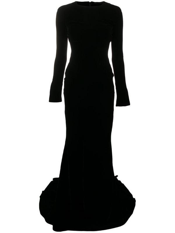 Haider Ackermann velvet-effect long-sleeved gown in black