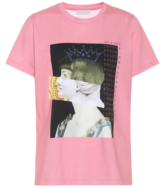 Etro Printed cotton T-shirt in pink