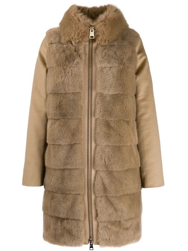 Herno faux fur coat in brown