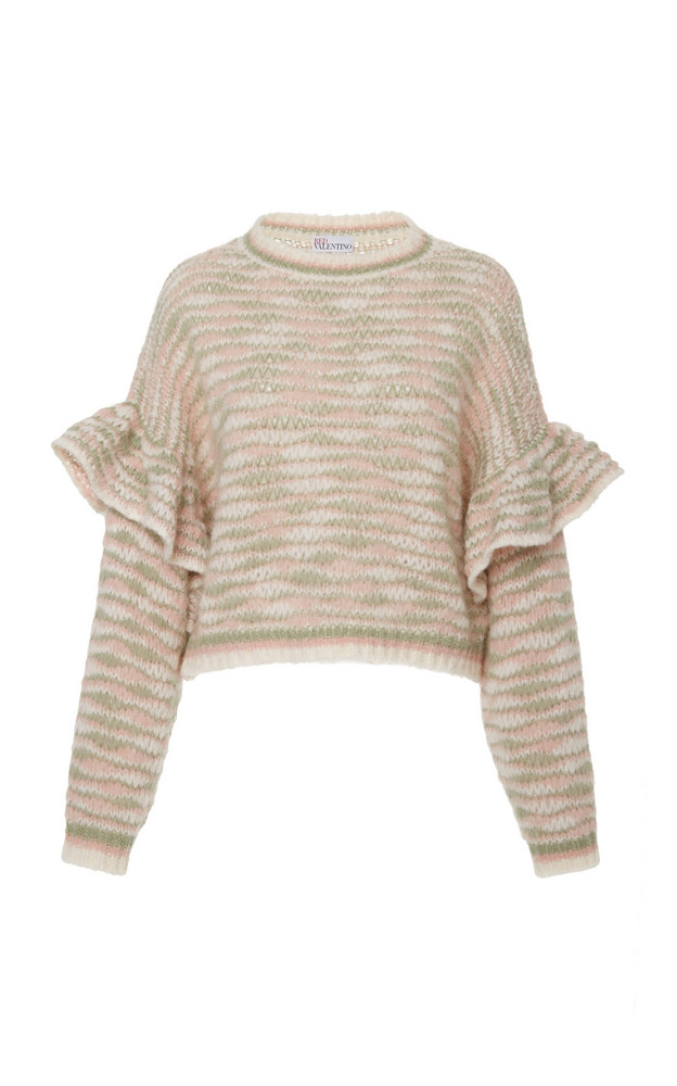 Red Valentino Striped Knit Sweater in pink