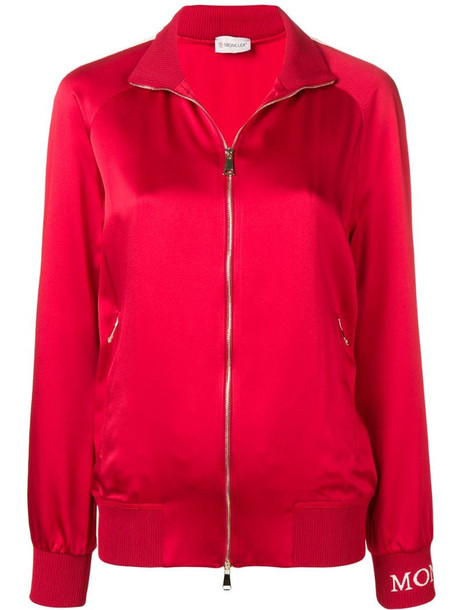 Moncler zip up jacket in red