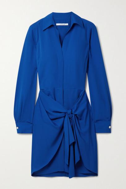 Derek Lam 10 Crosby - Harper Tie-front Crepe Mini Shirt Dress - Royal blue