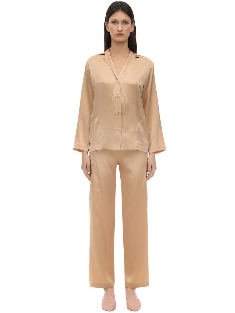 LA PERLA Silk Pajama Set in beige