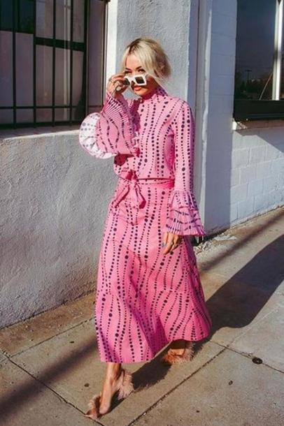 skirt rita ora celebrity pink maxi skirt top blouse fall outfits