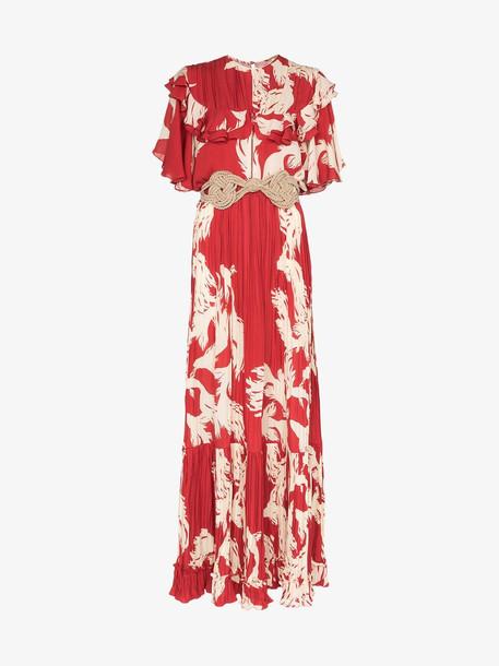 Johanna Ortiz Musica Sagrada ruffle silk maxi dress in red