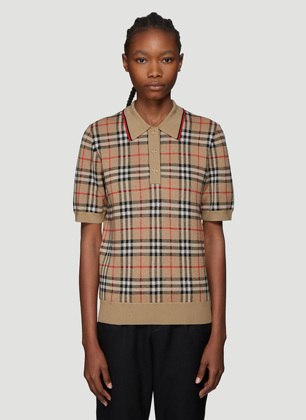 Burberry Vintage Check Knitted Polo Shirt in Beige size XS