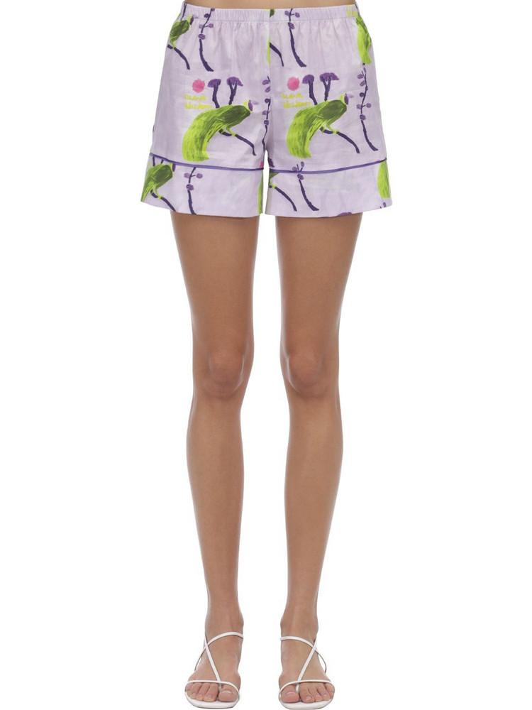 LAURA URBINATI Printed Stretch Poplin Pajama Shorts in lilac / multi