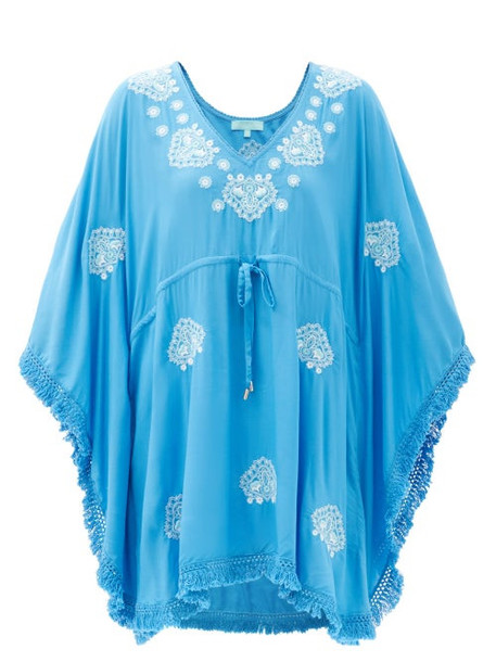 Melissa Odabash - Irene Belted Embroidered Kaftan - Womens - Blue