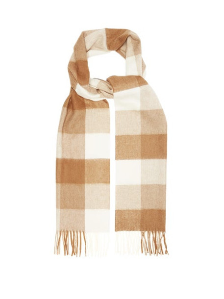 Johnston's Of Elgin - Checked Cashmere-blend Scarf - Womens - Brown White