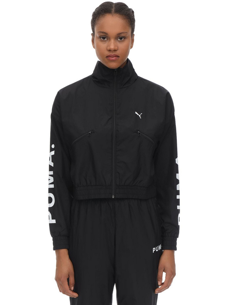 PUMA SELECT Cropped Nylon Track Top in black